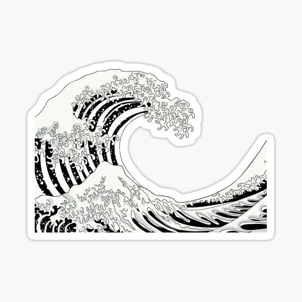 Black and White Great Wave Sticker