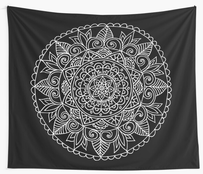 Black and White Lace Mandala by julieerindesign