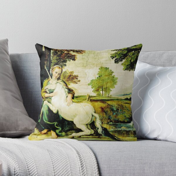 HD The Virgin and the Unicorn (1602) Throw Pillow
