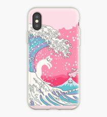 Psychodelic Bubblegum Kunagawa Surfer Cat iPhone Case
