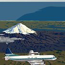 Mount Taranaki and Lockheed L-188 Electra, New Zealand, 1959 by contourcreative