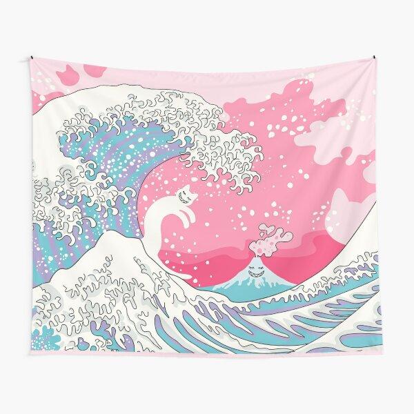 Psychodelic Bubblegum Kunagawa Surfer Cat Tapestry