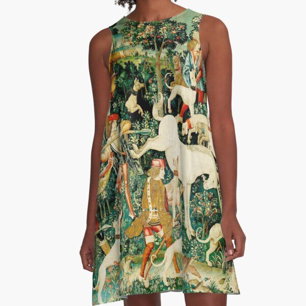 HD The Unicorn is Attacked (1495) A-Line Dress