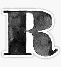 R Letter Monogram Monochrome Alphabet  Word Watercolor Black And White Grey Sticker