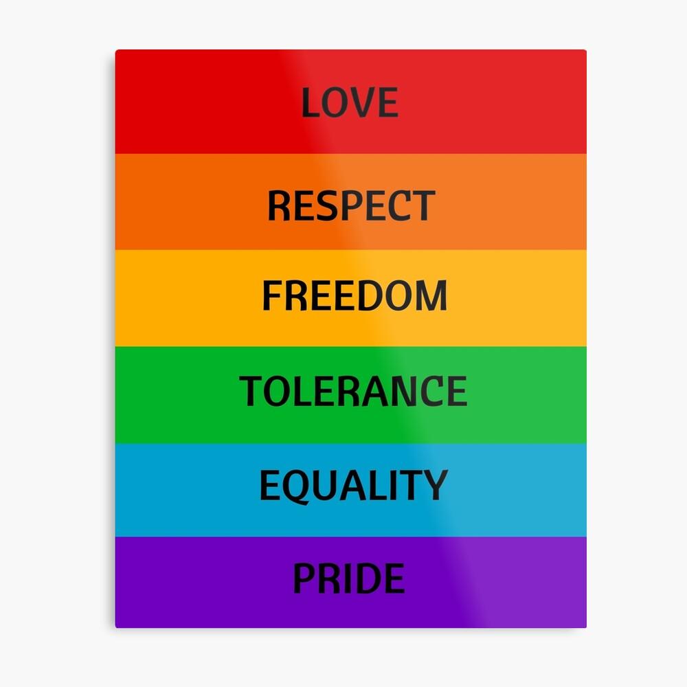 Pride Flag - Love Respect Freedom Tolerance Equality Pride Metal Print