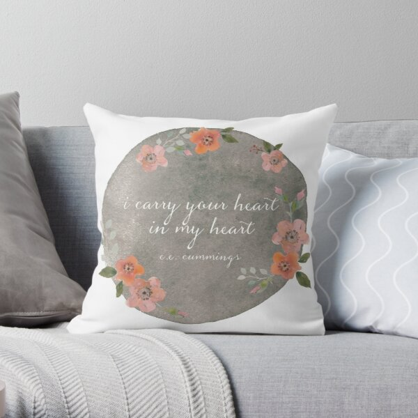 Literary Cushion cummings Quote Literature Home Decor e.e I Carry Your Heart with Me Bookish Pillow Cover i carry it in my heart