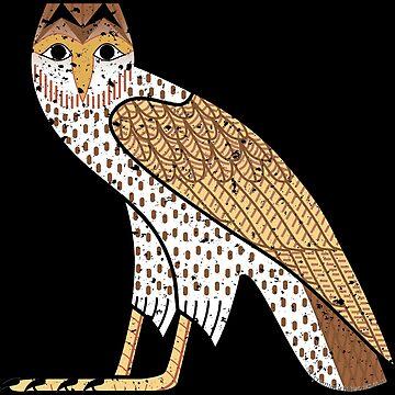 Ancient Egyptian Owl M Hieroglyph on Black by PyramidPrintWrx