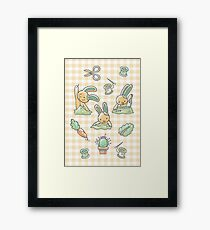 Sewing Bunnies - Yellow Framed Print
