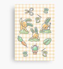 Sewing Bunnies - Yellow Canvas Print
