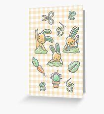 Sewing Bunnies - Yellow Greeting Card