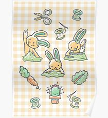 Sewing Bunnies - Yellow Poster