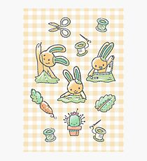 Sewing Bunnies - Yellow Photographic Print