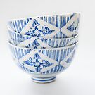 Stack of Three Blue and White Japanese Rice Bowls by Skye Hohmann