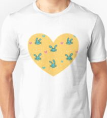 Little Rabbits - Teal on Yellow T-Shirt