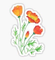 Orange rote Mohnblumen Sticker