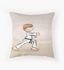 Karate boy practicing his dachi Throw Pillow