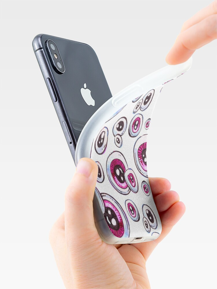 Alternate view of Pink Eyeball Pattern iPhone Case & Cover