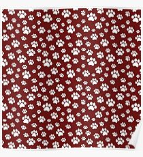 Doggy Paws // Maroon Poster