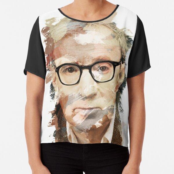 Paint-Stroked Portrait of Film Director, Woody Allen Chiffon Top