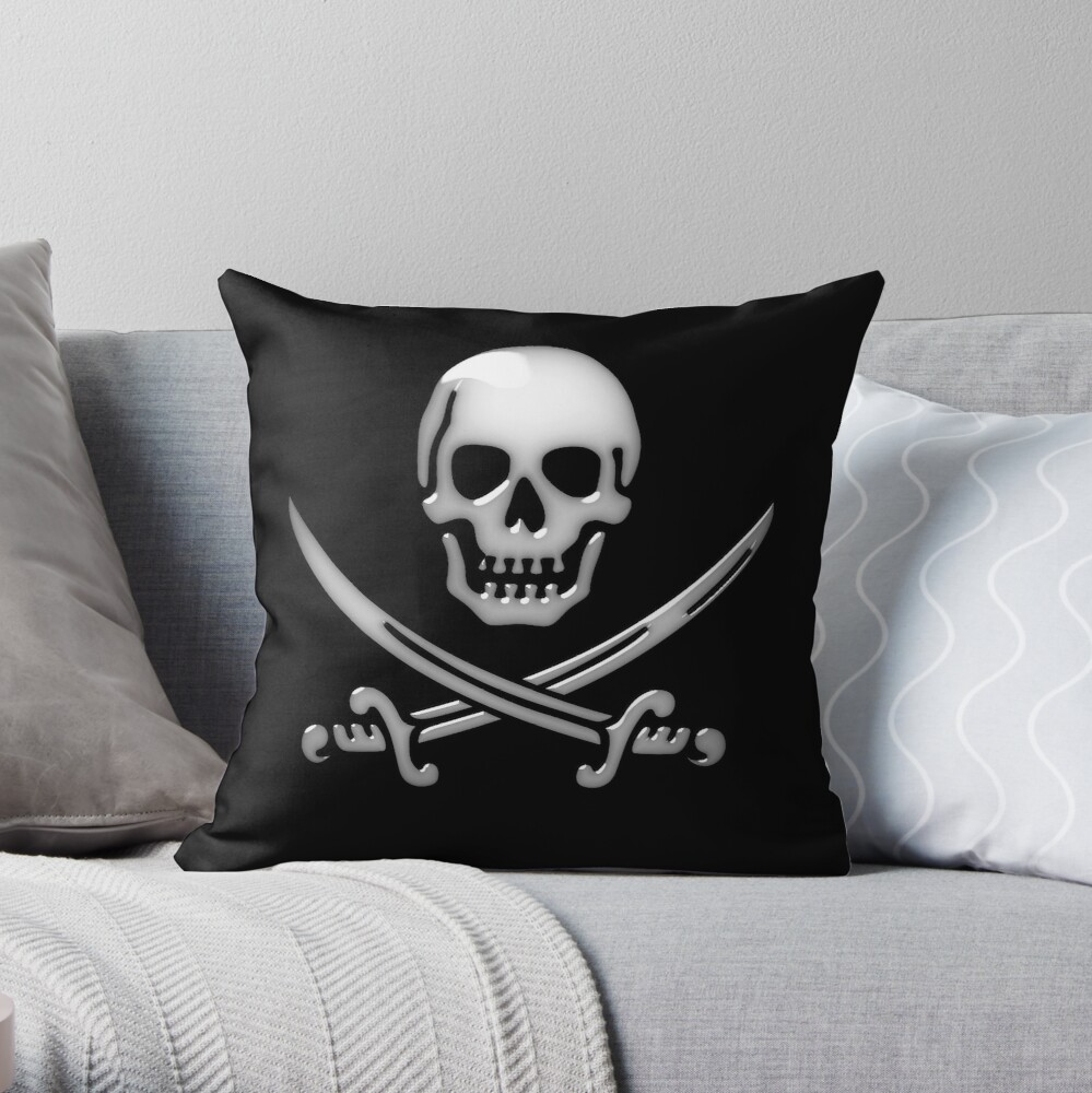 Glassy Pirate Skull & Sword Crossbones  Throw Pillow