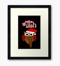 Make a wish christmas funky owl design Framed Print