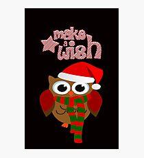 Make a wish christmas funky owl design Photographic Print