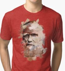Paint-Stroked Portrait of Scientist and Evolutionary Biologist, Charles Darwin Tri-blend T-Shirt