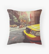Taxis In New York Throw Pillow
