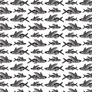 Flying Fish Patttern   Vintage Fish   Nautical Patterns   Black and White    by EclecticAtHeART