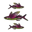 Flying Fish   Vintage Fish   Three Fish    by EclecticAtHeART