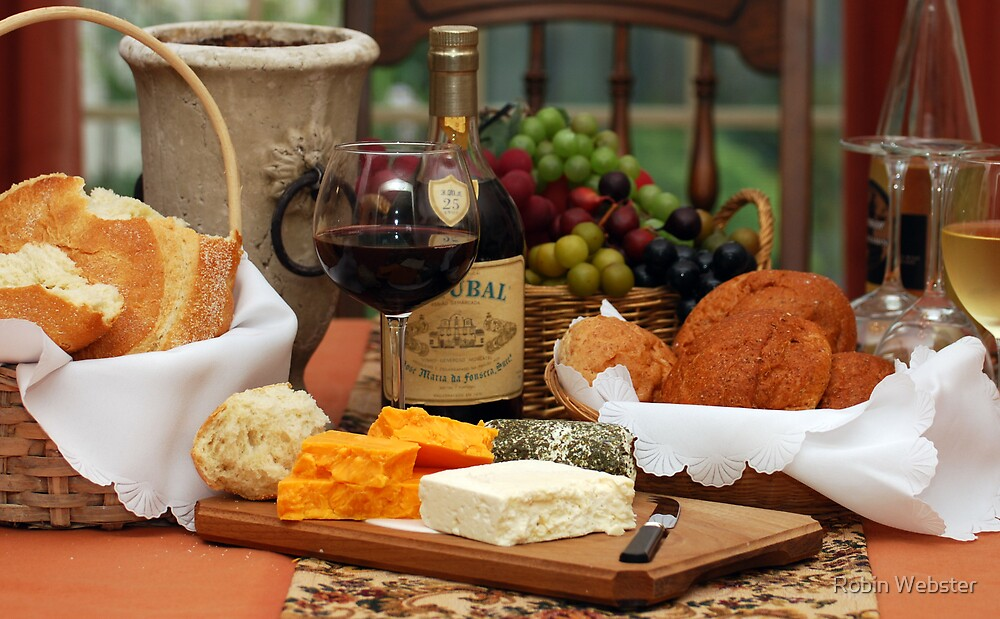 """""""Wine Cheese and Bread"""" by Robin Webster   Redbubble"""