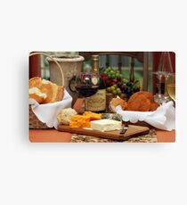 Wine Cheese and Bread Canvas Print