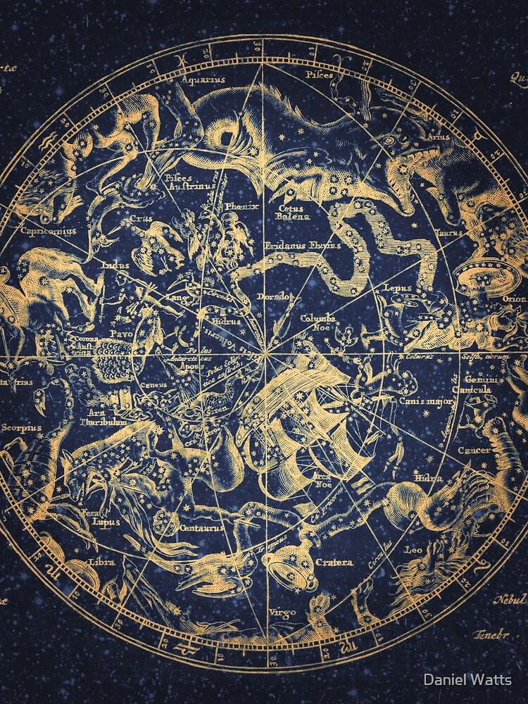 Zodiac Star Sign Constellation Map   Emboldened Yellow on Lazuli  by DanJohnDesign
