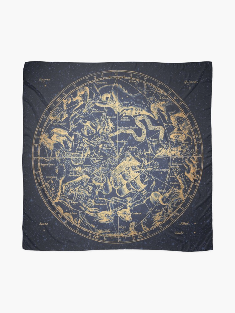 Alternate view of Zodiac Star Sign Constellation Map   Emboldened Yellow on Lazuli  Scarf