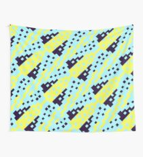 Chocktaw Geometric Square Cutout Pattern - Electric Ray Wall Tapestry