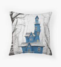 Snow Blue Mansion Throw Pillow