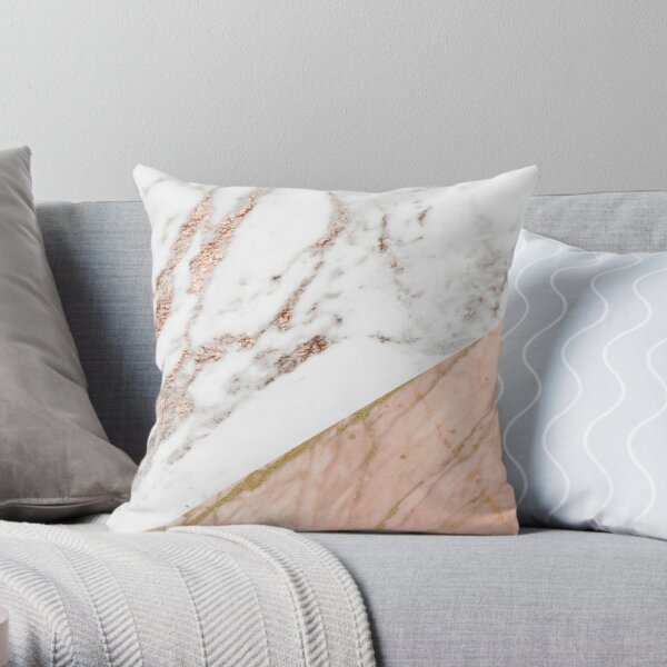 Rose gold marble blended Throw Pillow