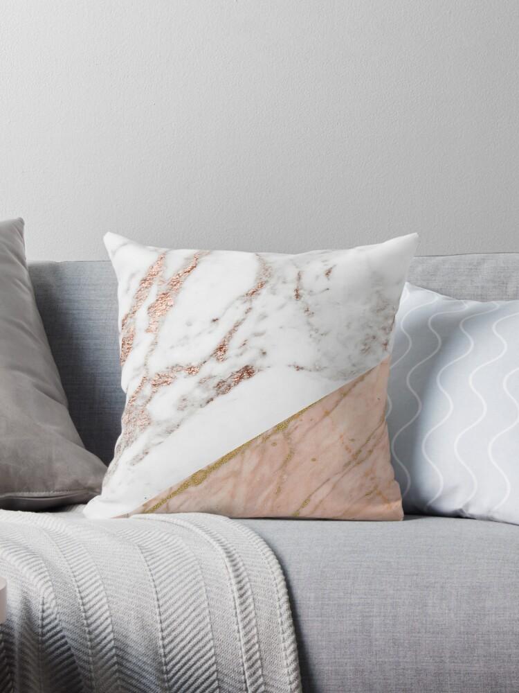 Fine Rose Gold Marble Blended Throw Pillow By Peggieprints Short Links Chair Design For Home Short Linksinfo