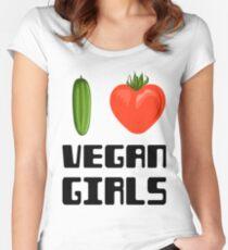 I love vegan girls - Vegan T-shirts Women's Fitted Scoop T-Shirt