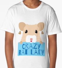 CUTE crazy rat lady (in cream colour) Long T-Shirt