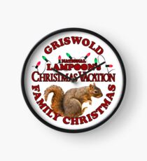 National Lampoon's – Christmas Vacation Deep Red Text Clock