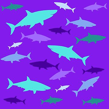 Sharks in purple and teal by chihuahuashower