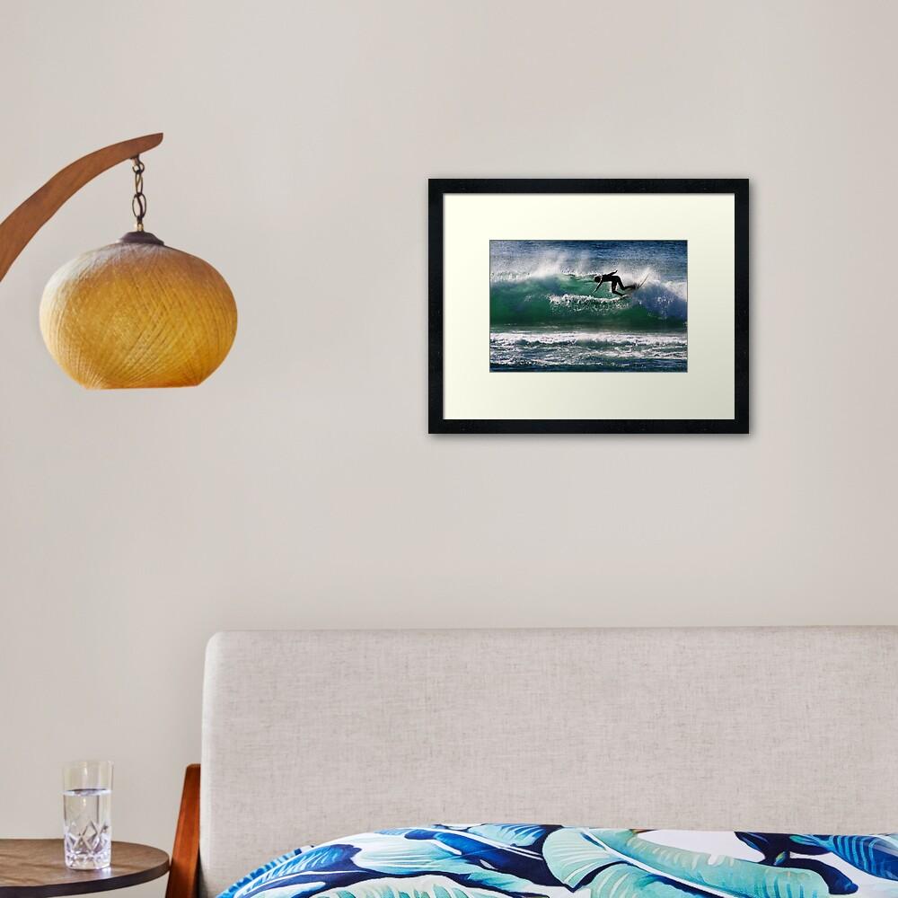 Emerald Surfer Framed Art Print