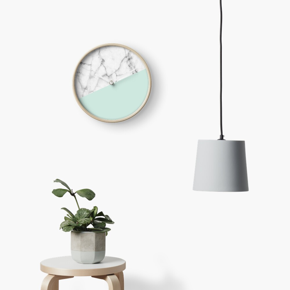 Real White marble Half pastel Mint Green Clock