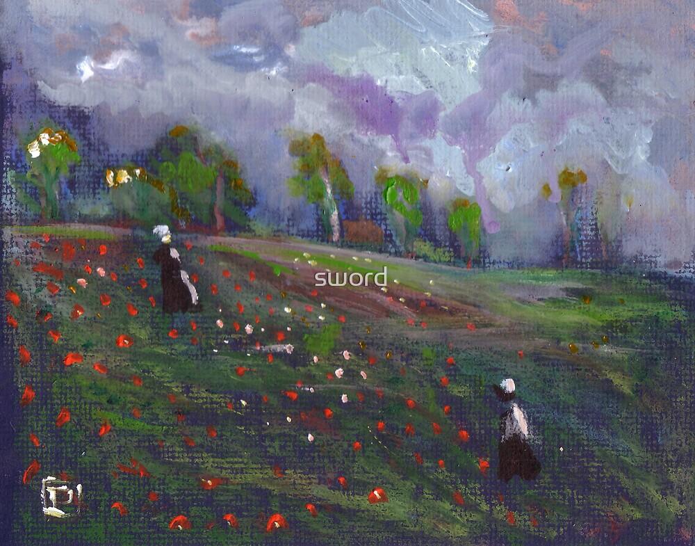 Poppies in a field by sword