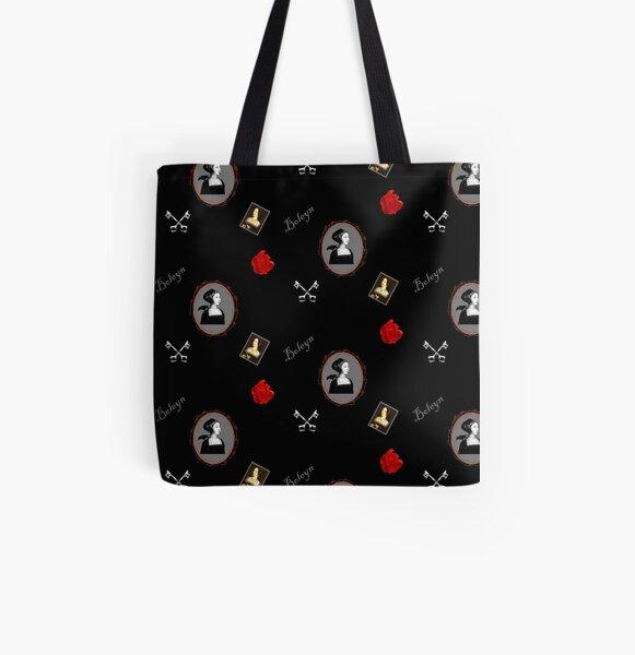 Anne Boleyn print black and red All Over Print Tote Bag