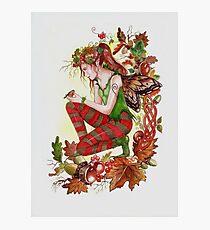 Autumn fall faerie fairy with robin Photographic Print