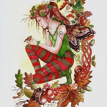 Autumn fall faerie fairy with robin by gabo2828