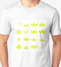 Set of Gold Crowns Silhouettes Isolated on White Background T-Shirt