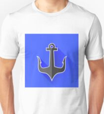 Sea Metal Anchor Silhouette Isolated on Blue Background. Long Shadow T-Shirt